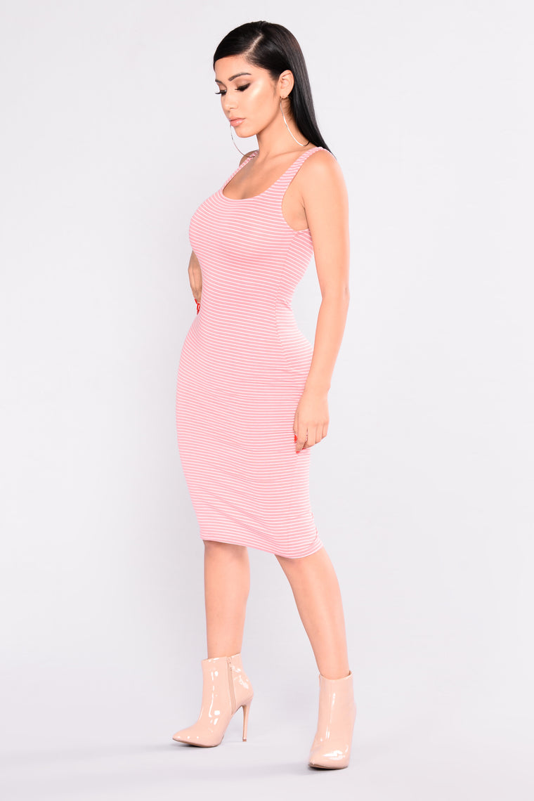 Nelly Striped Dress - Rose/White