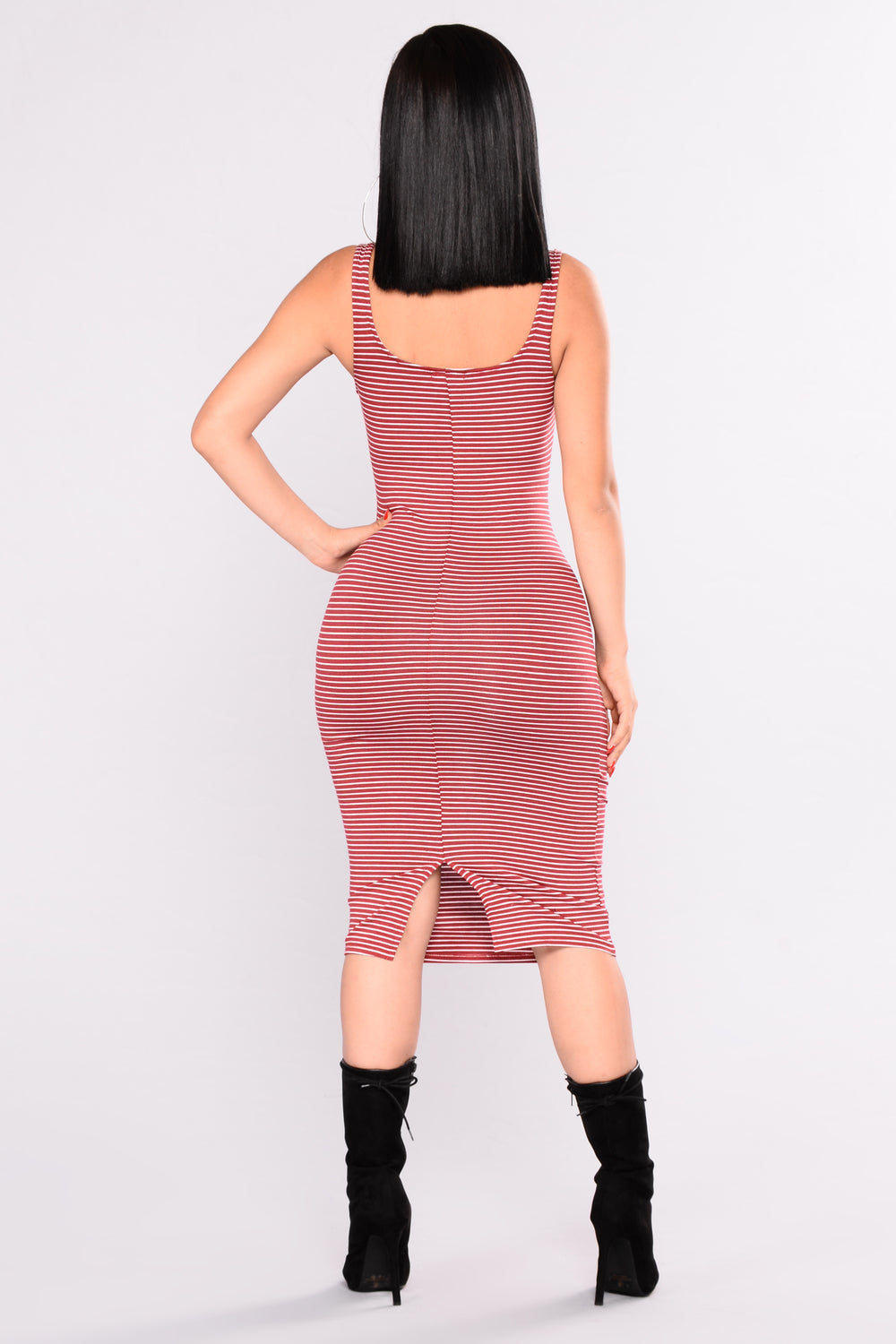 Nelly Striped Dress - Burgundy/White