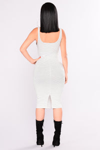 Nelly Striped Dress - White/Black