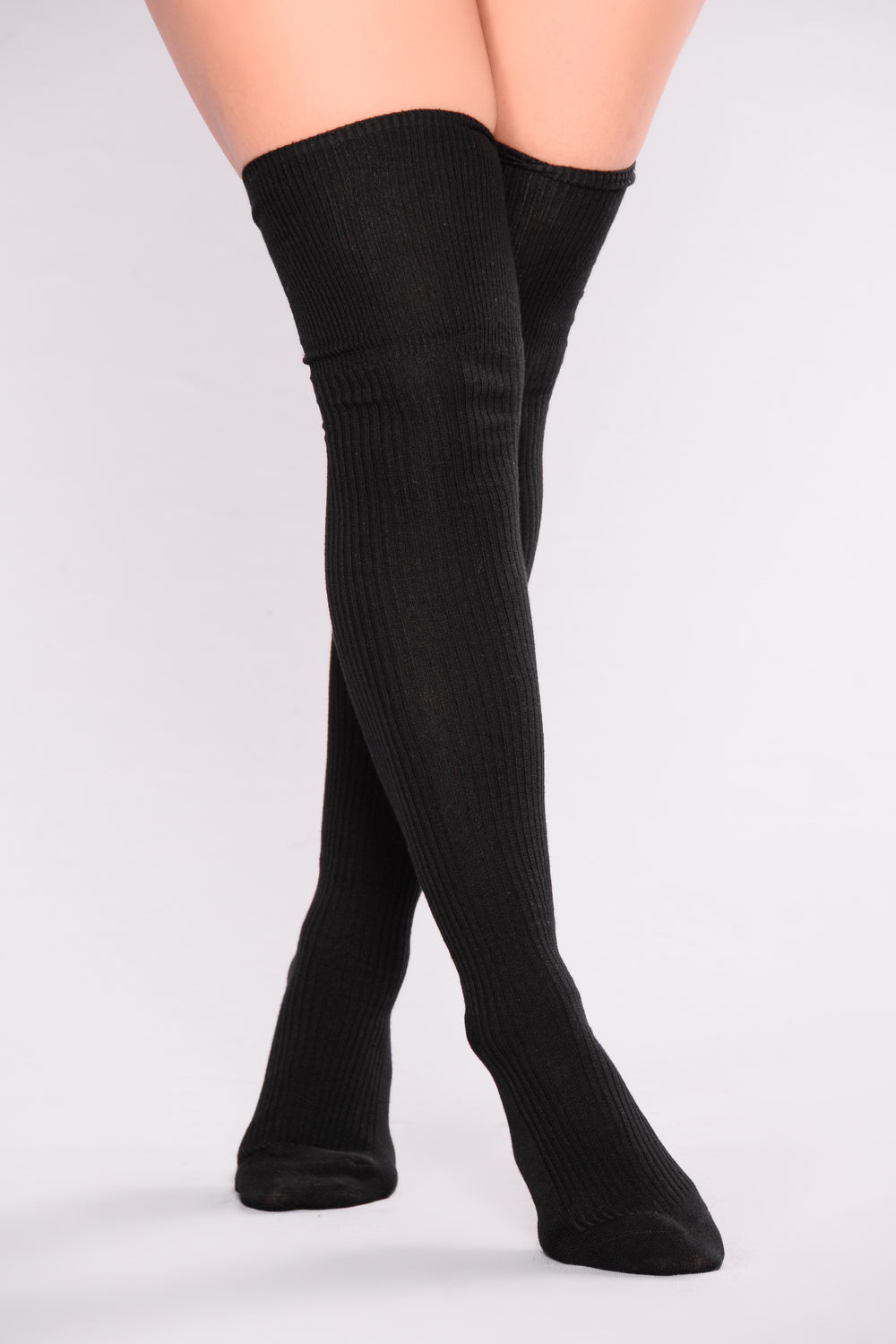 Available In Black Essential Over The Knee Sock Ribbed Fabrication Pair with Ankle Booties.