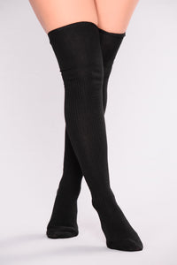 Say High Over The Knee Socks - Black