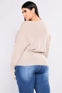 Don't Sweater It Oversized Sweater - Taupe