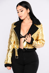 Mind You'r Metallics Jacket - Gold