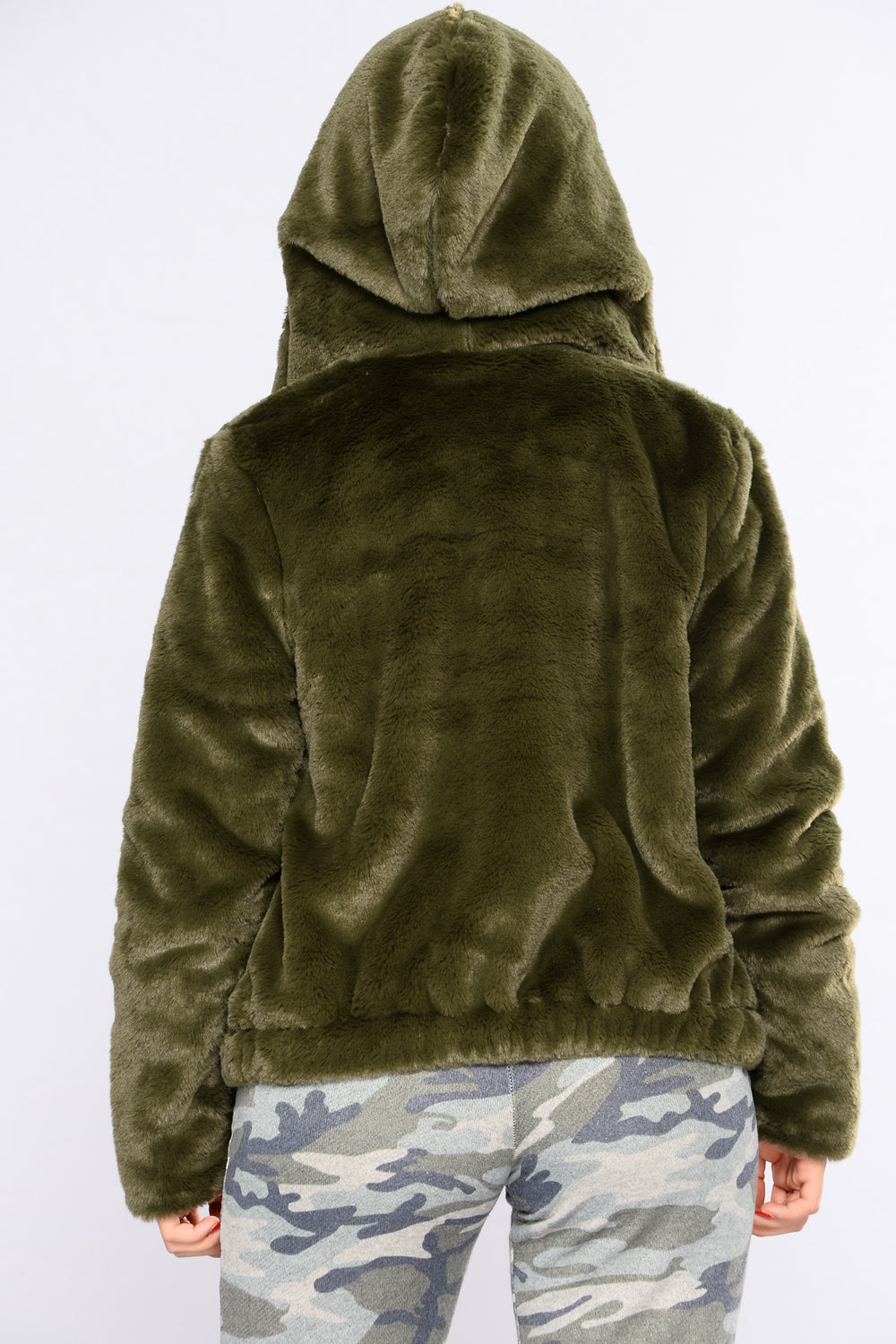 Irene Faux Fur Hooded Jacket - Olive