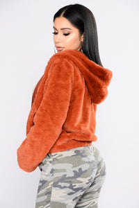 Irene Faux Fur Hooded Jacket - Rust