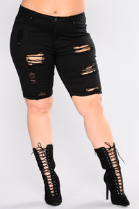 Callie Distressed Shorts - Black