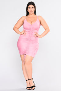 Shanghai Ruched Dress - Pink Angle 7