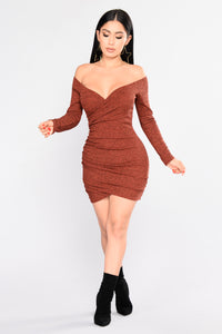 Look Over Your Shoulder Dress - Rust Angle 1