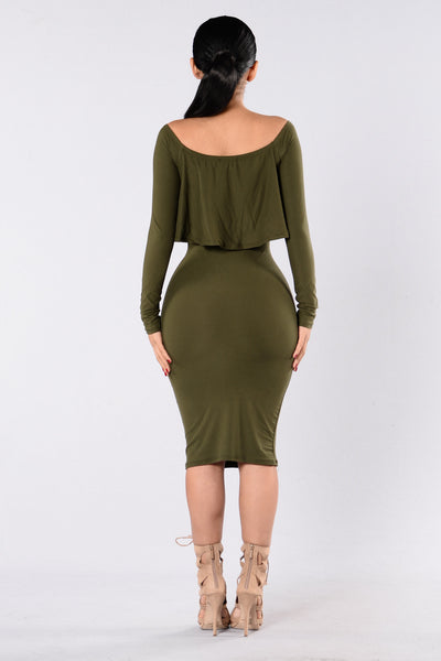 Off On My Own Dress - Olive