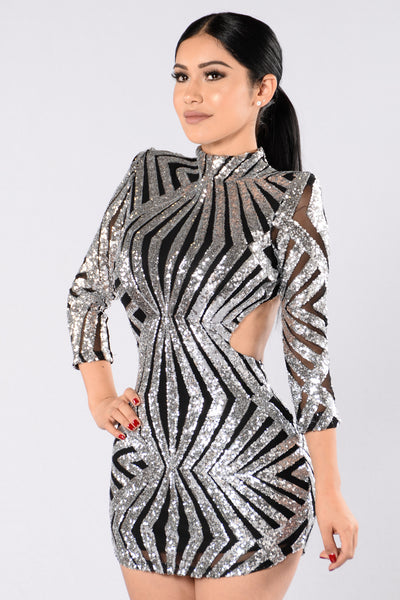 Shine Bright Dress - Black/Silver