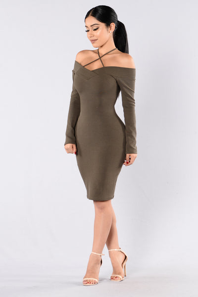 Slightly Off Dress - Olive