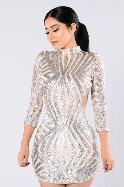 Shine Bright Dress - Nude/Silver