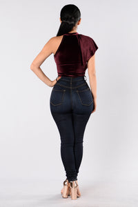 Catching Feelings Bodysuit - Wine Angle 5