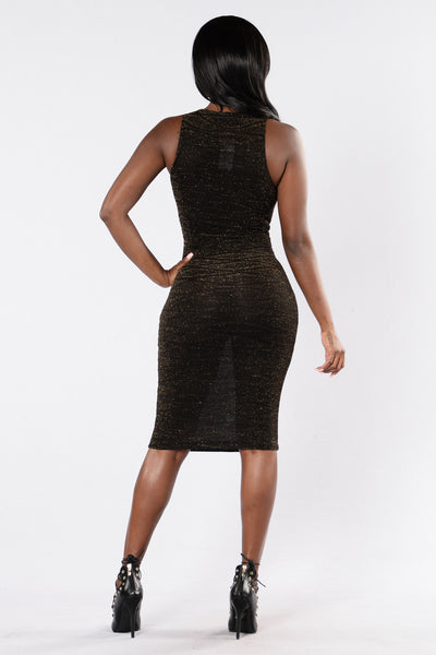 Kaelan Dress - Black/Gold