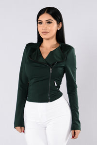 Lovely Leading Lady Jacket - Hunter Green