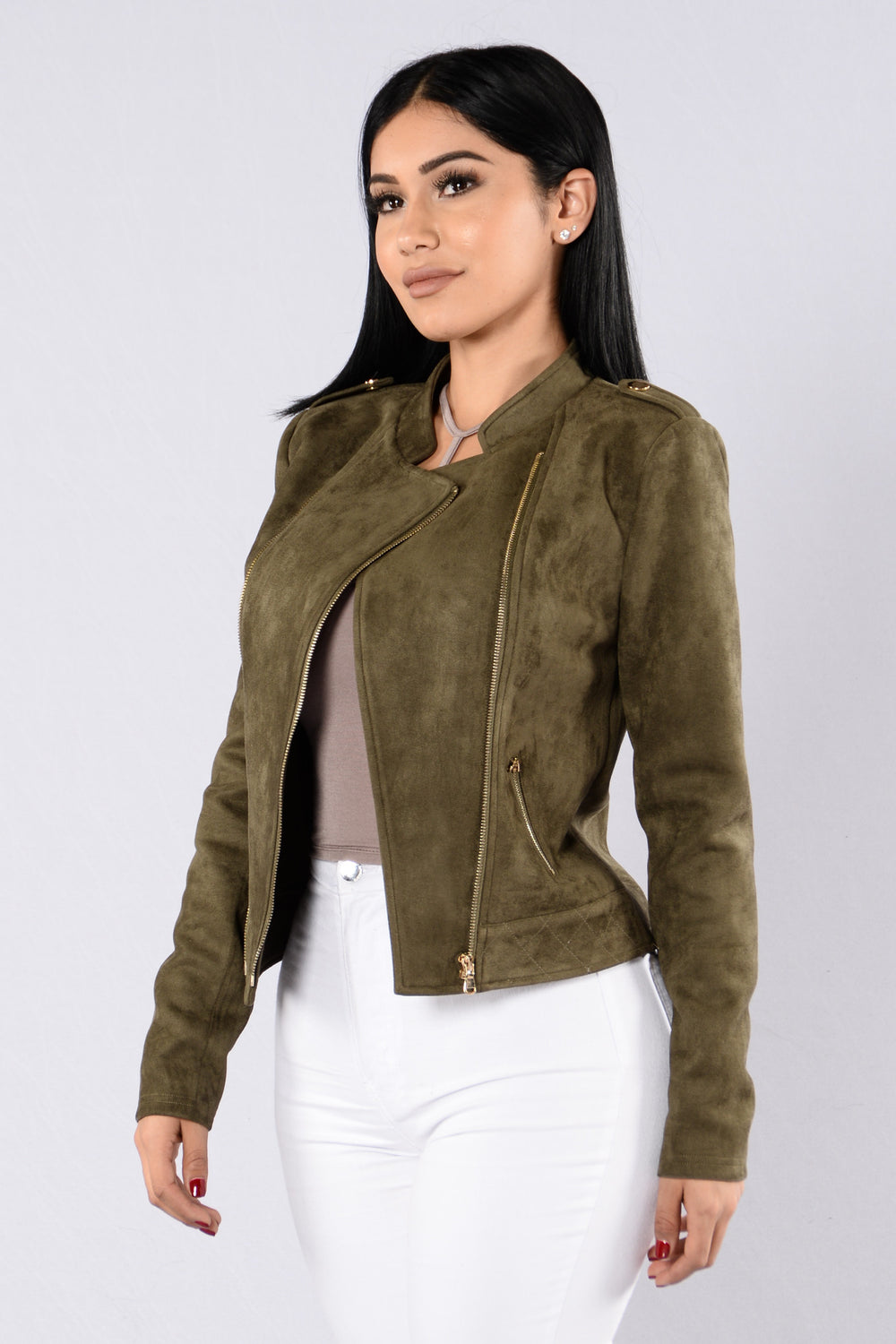 Strayed in Suede Jacket - Olive