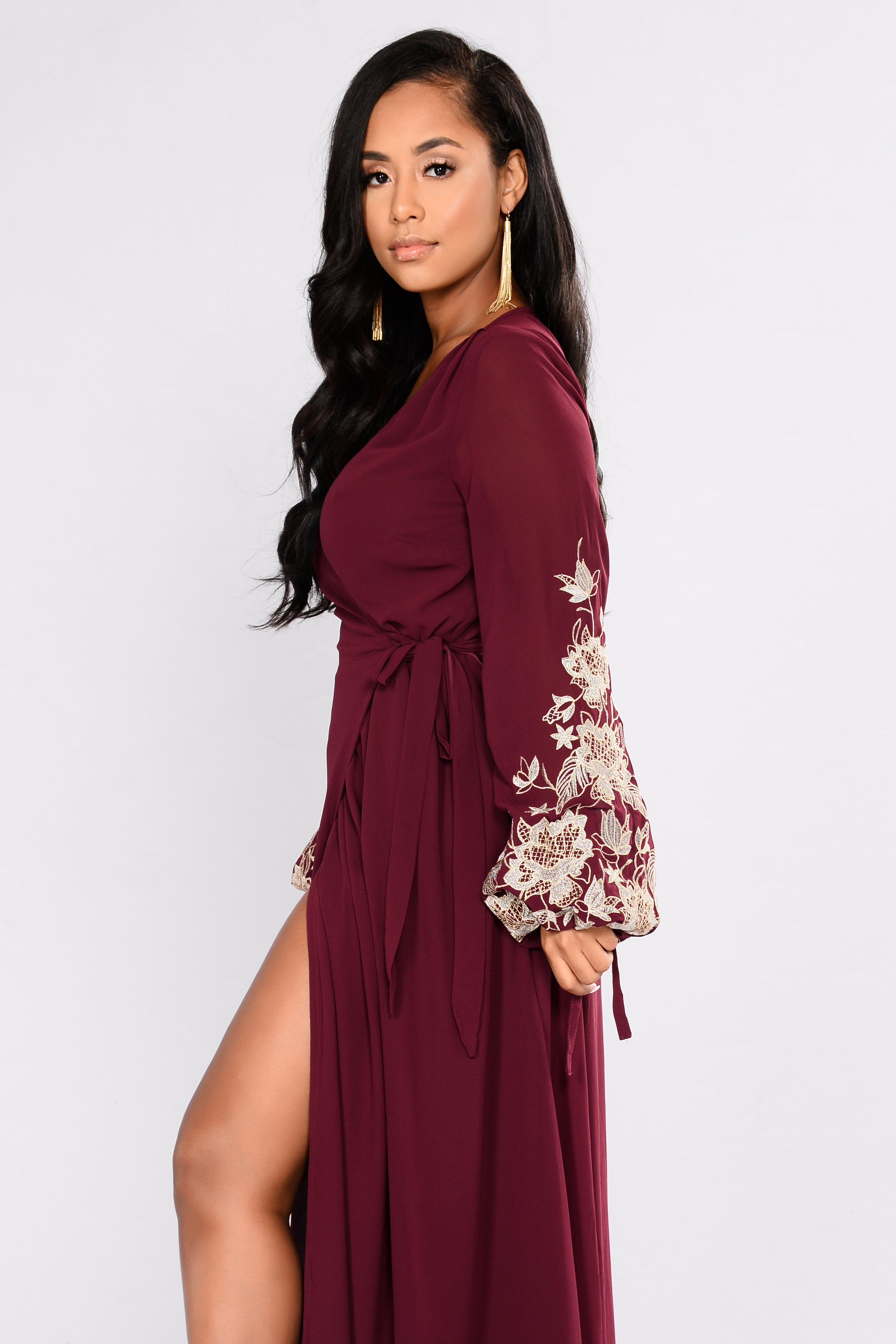 037226ccfc Trophy Wife Embroidered Dress - Wine