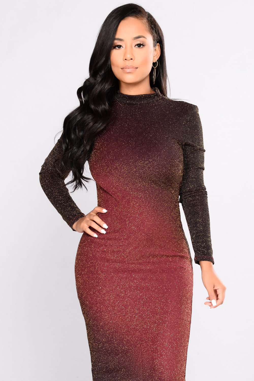 Ombre On Me Dress - Burgundy