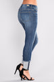 Princess Pearl Skinny Jeans - Medium Blue Wash