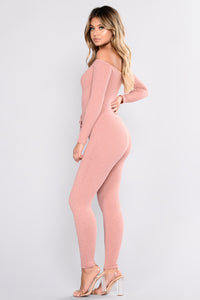 Novababe Off Shoulder Jumpsuit - Rose