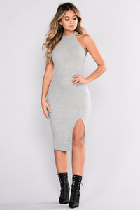 Mollie Ribbed Dress - Heather Grey