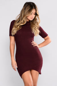 Dorthy Ribbed Dress - Wine