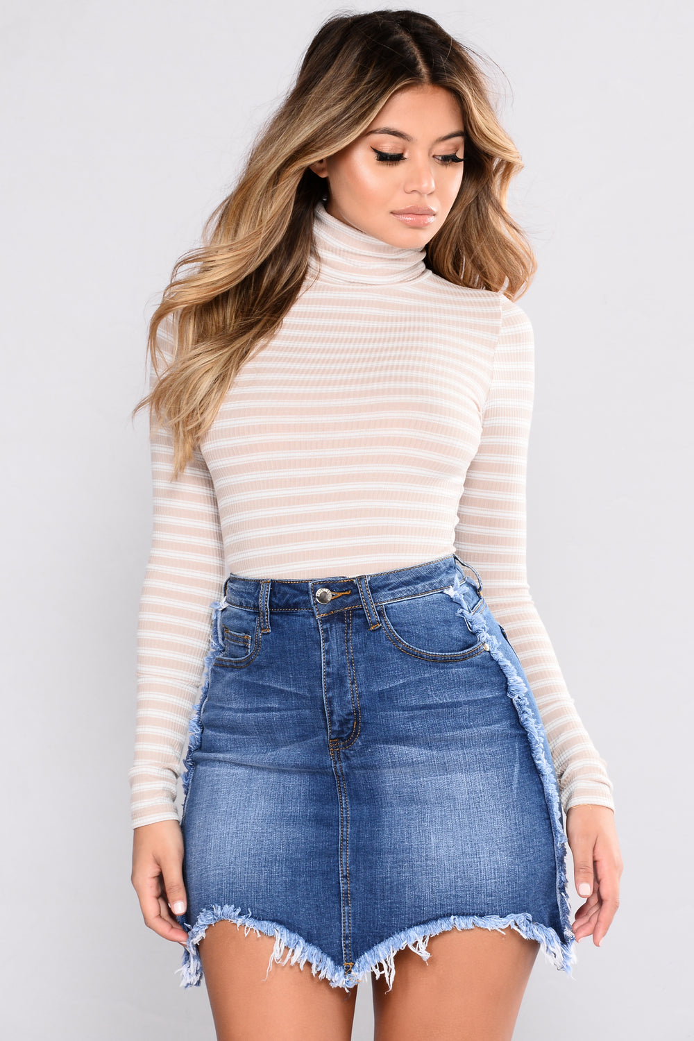 Not Replaceable Turtleneck Top - Taupe