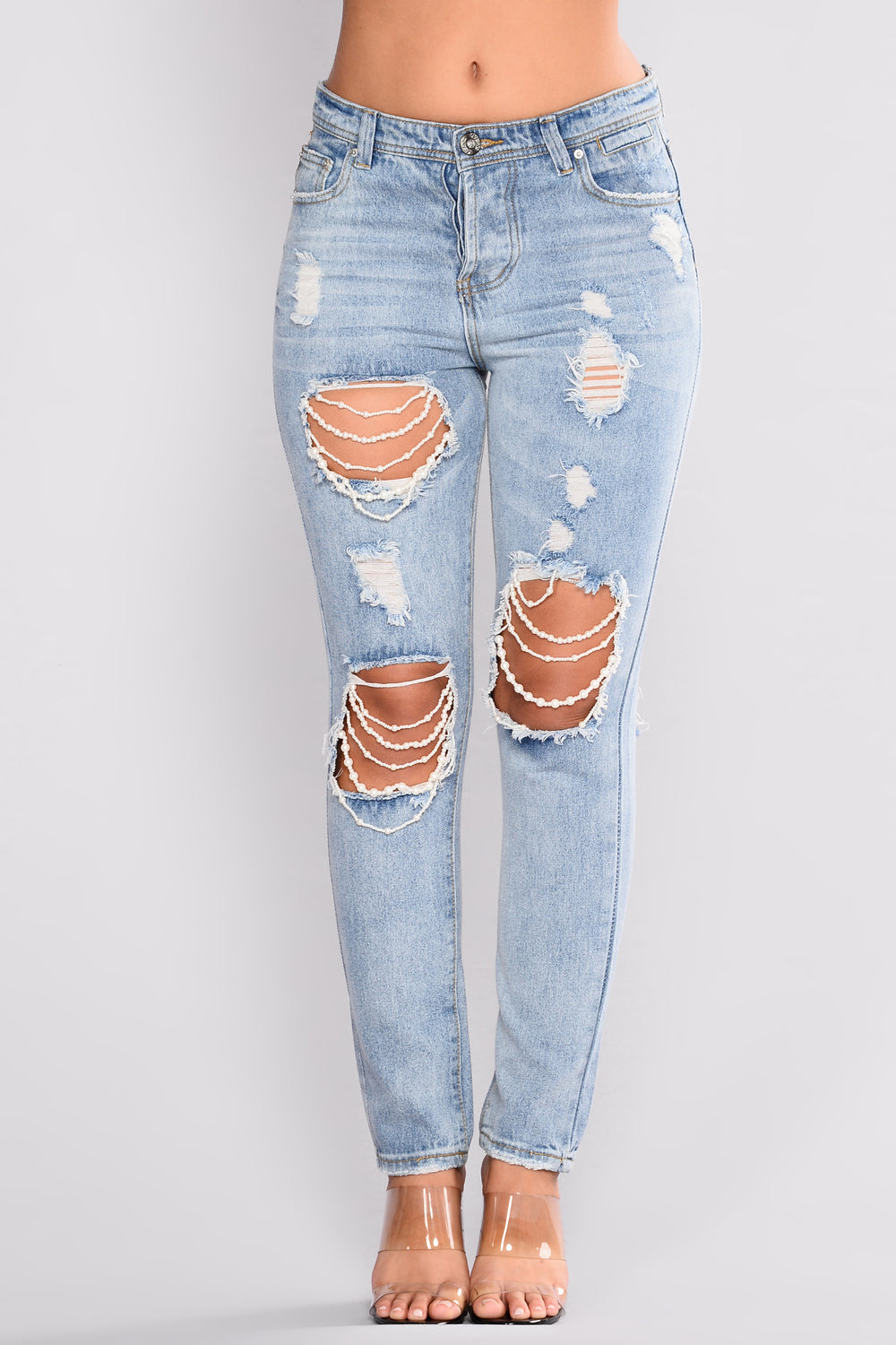 Fresca Pearl Boyfriend Jeans - Light Blue Wash