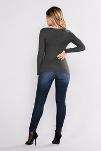 Massiel Thermal Top - Charcoal