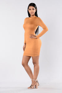 Make You Notice Me Dress - Mustard Angle 6