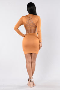 Make You Notice Me Dress - Mustard Angle 5