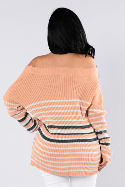 Stripes Sweater - Dark Pink