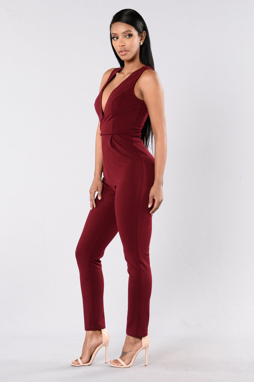 Pull Me Closer Jumpsuit - Burgundy