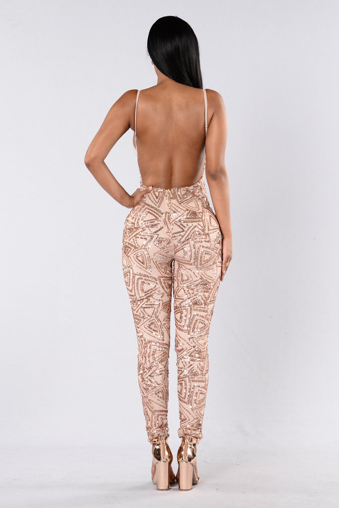 Love Money Party Jumpsuit - Blush