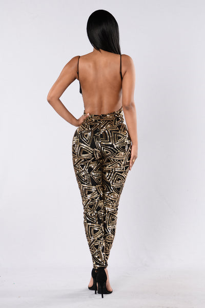 Love Money Party Jumpsuit - Black/Gold