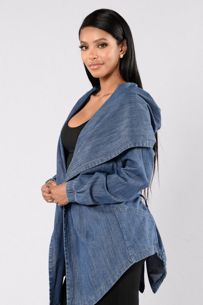 Hooded Denim Jacket - Medium Stone