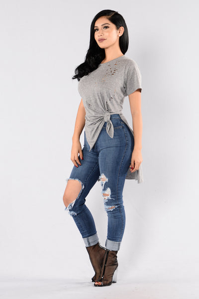 Dirt Road Diary Top - Heather Grey