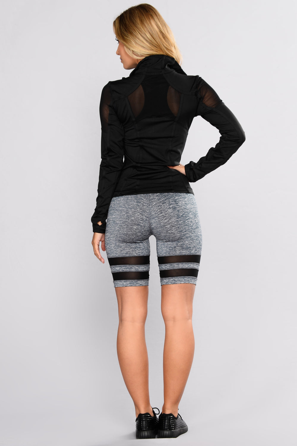 Samantha Mesh Active Biker Shorts - Grey