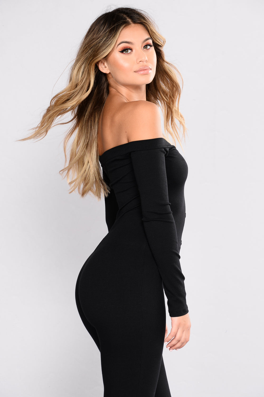 Fool In Love Off The Shoulder Jumpsuit - Black