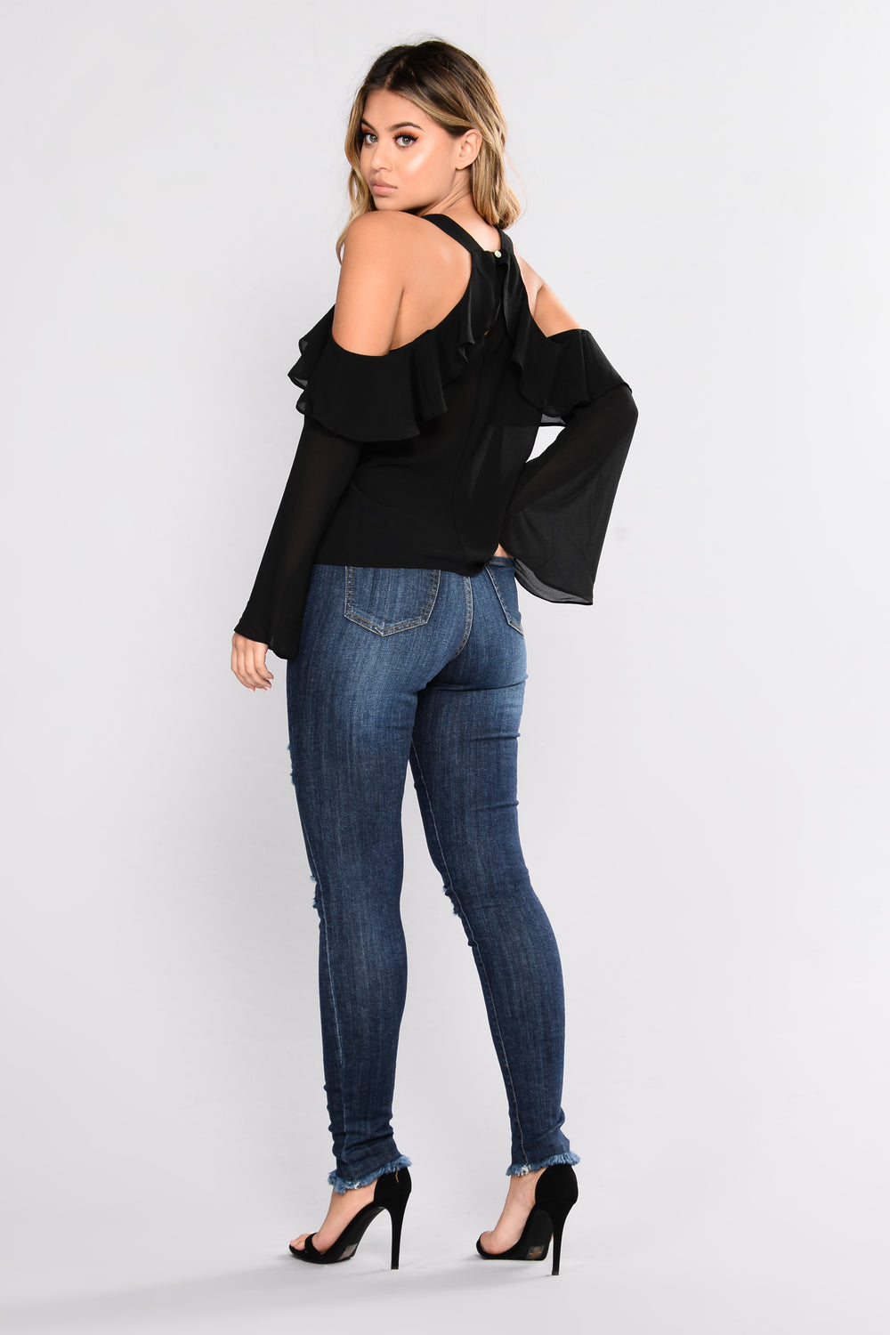 Myah Ruffle Top - Black