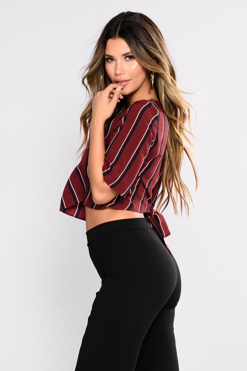 Fresh Look Striped Top - Burgundy/combo