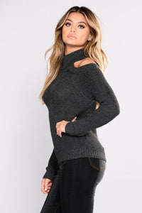 Nayla Cold Shoulder Sweater - Charcoal Grey