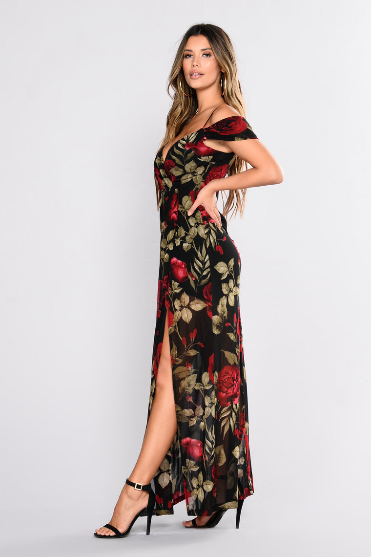 Ultimate Romance Floral  Dress - Black/Red