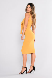 Amber Ribbed Tank Dress - Mustard