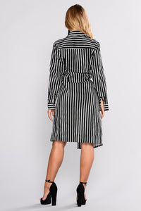 Great Performance Stripe Shirt Dress - Ivory/Black Angle 4