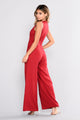 Snap Back Snap Jumpsuit - Dark Red