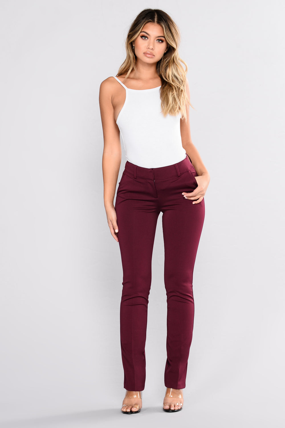 Enough Said High Rise Pants - Burgundy