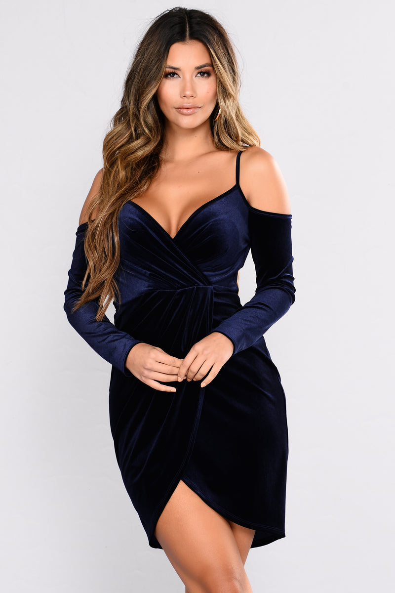 All Attitude Velvet Dress - Navy
