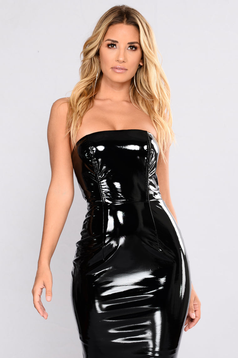 Latest Model Latex Dress - Black