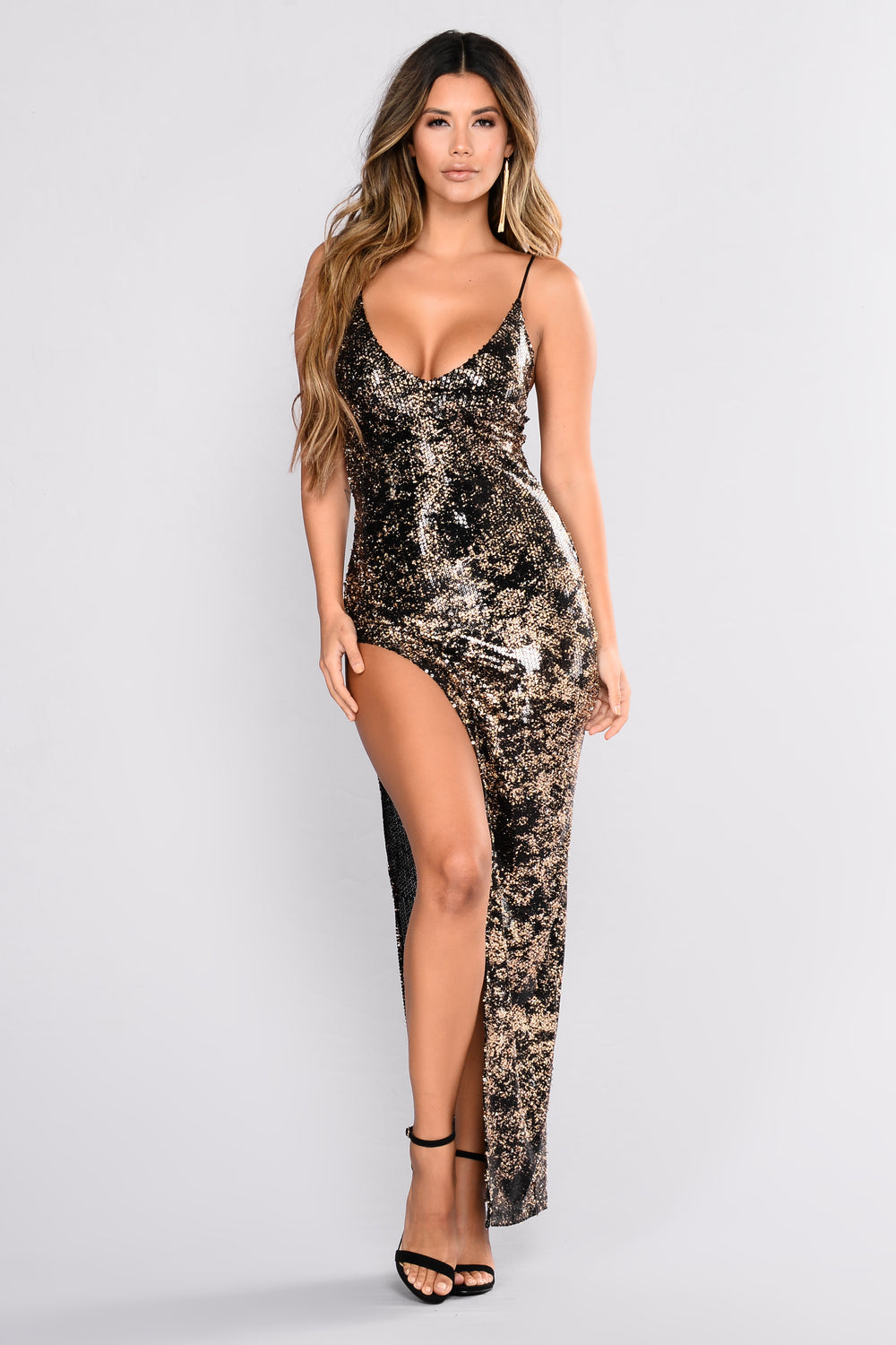 Vienna Sequin Dress - Black/Gold